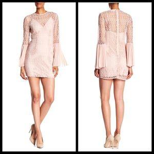 Keepsake blush lace overlay flare sleeve dress